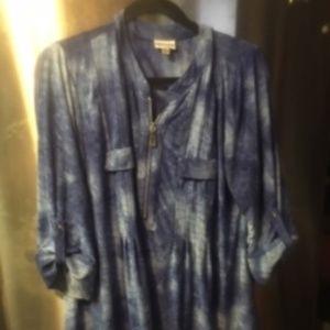 Avenue Denim Blue Pintuck Stitch Blouse Size 18 (8